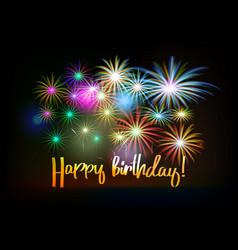 Happy birthday fireworks greeting card vector