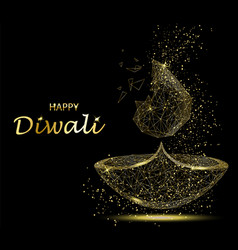 Happy diwali greeting card deepavali light and vector