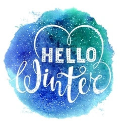 Hello winter text lettering with heart element on vector image