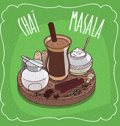 indian tea masala chai with milk jug with lid vector image