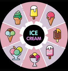 Infographic food icons ice cream vector