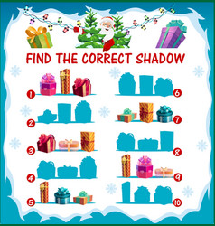 Kids christmas riddle find correct shadow game vector
