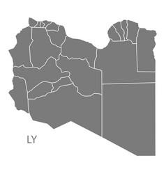 Libya districts map grey vector