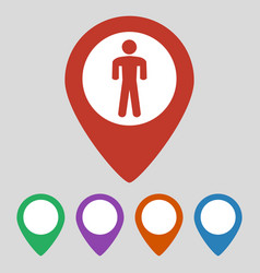 map pointer with man icon on grey background vector image