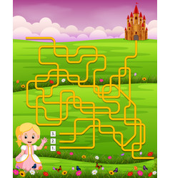 maze game template with princess vector image