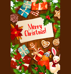 Merry christmas wishes gifts greeting card vector