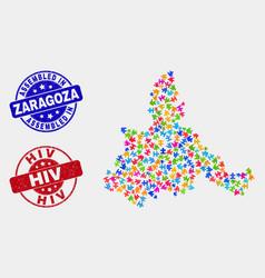 Module zaragoza province map and distress vector