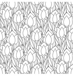 monochrome seamless pattern with tulips vector image