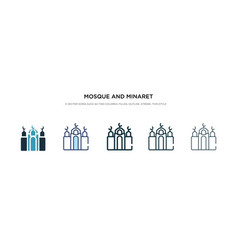 Mosque and minaret icon in different style two vector
