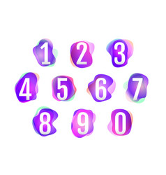 number 1 to 10 on pink purple neon colors vector image