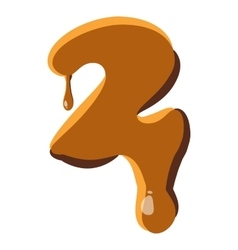 Number 2 from caramel icon vector image