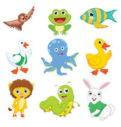 Of cartoon animals vector