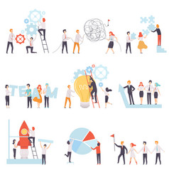 office colleagues working together set business vector image