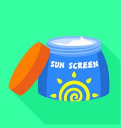 Open sunscreen jar icon flat style vector