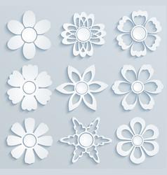 paper flowers set paper ornaments vector image
