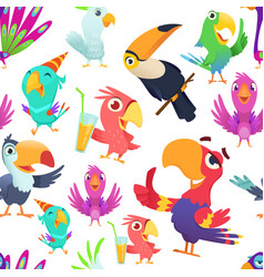 parrots pattern toucan tropical colored birds vector image