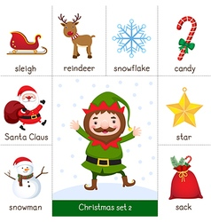 Printable flashcard Christmas set and Elf vector