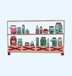 Rack with pickled jars with vegetables fruits vector