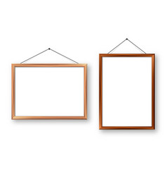 realistic wooden picture frames with shadow vector image