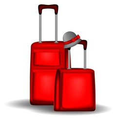Red luggage vector image