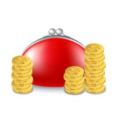 red purse and a stack of coins vector image