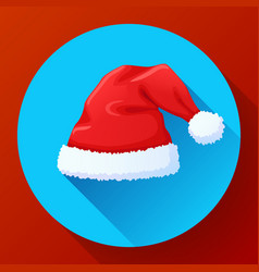red santa claus hat new year cap vector image