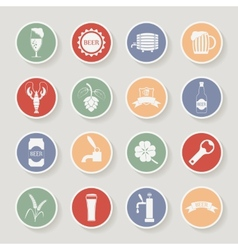 Round beer icons set vector image