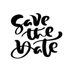save date hand drawn text calligraphy vector image