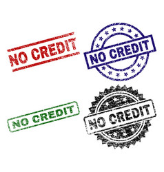 Scratched textured no credit stamp seals vector