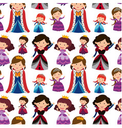Seamless background with queens and princesses vector