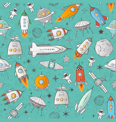 Seamless pattern with space rockets and other vector