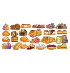 set assorted desserts vector image