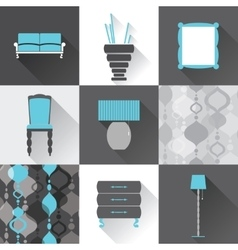 Set of flat furniture icons vector image