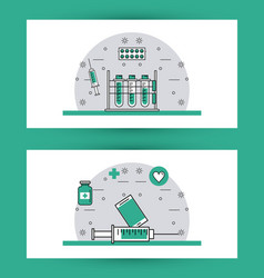 set of medical elements vector image