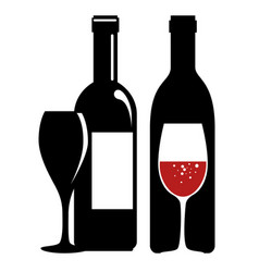 Set red wine bottles vector