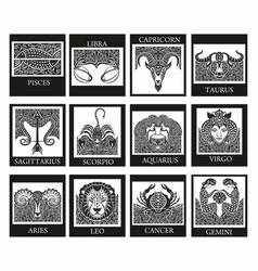 set zodiac signs icons vector image