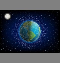 Space debris in orbit around earth vector