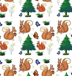 Squirrels and pine trees vector