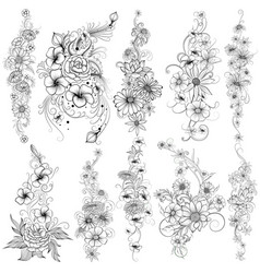 Tattoo art design of floral flower collection vector