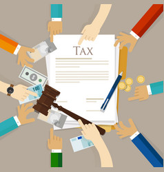 tax law gavel hammer with money and paper court of vector image