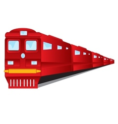 Train of the red colour on white background vector image