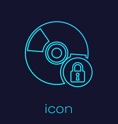 Turquoise cd or dvd disk with closed padlock line vector
