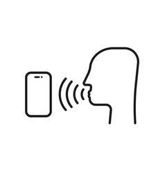 voice command with thin line head vector image