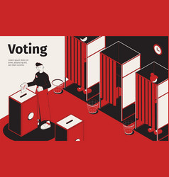 voting place isometric background vector image