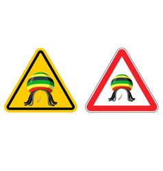warning sign rastaman attention stoned drug man vector image