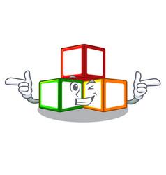 Wink toy blocks cube blank cartoon wooden vector