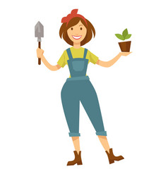 Woman gardener with plant in pot and spade vector
