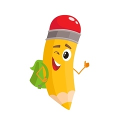 Yellow cartoon pencil with backpack winking and vector