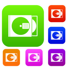 cd box with disc set color collection vector image vector image