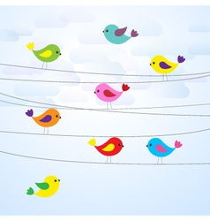 cute colorful birds on wires vector image vector image